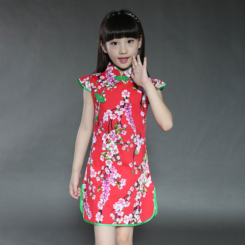 Summer Cheongsam Chinese Traditional Clothes Children Girl Cheongsam Dress Short Sleeve Cotton Performance Clothes Girl Qipao