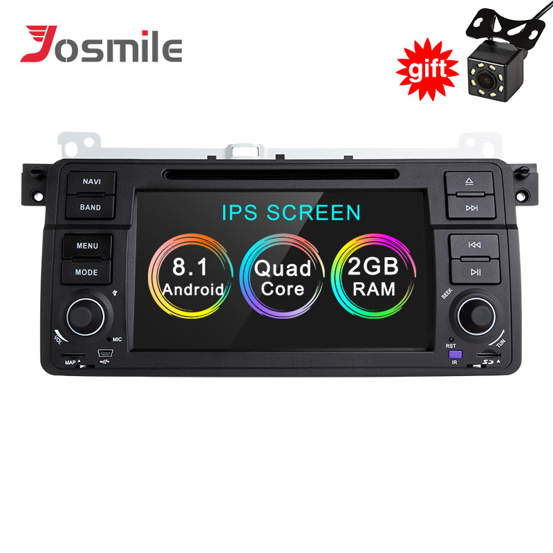 Josmile AutoRadio 1 Din Android 8.1 Car DVD Player For BMW E46 M3 Rover 75 Coupe 318/320/325/330/335 GPS Navigation 1998 2006 4G