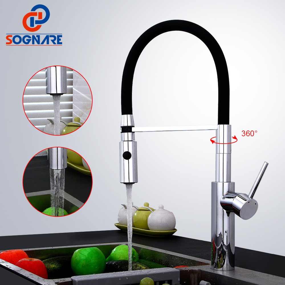 SOGNARE Pull Out Kitchen Faucet Black Chrome Finish Dual Sprayer Nozzle Cold Hot Water Mixer Brass Cozinha Taps Mixers D2317CB-in Kitchen Faucets from Home Improvement    1
