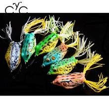 Relefree 5PC soft tube bait plastic fishing lures frog lure treble hooks Topwater ray frog  artificial soft bait