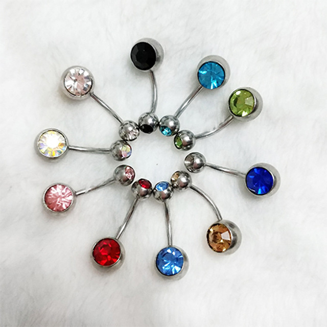 Us 2 03 43 Off 10pcs Set 14g Body Piercing Jewelry With Crystal Double Gem Barbell Navel Belly Button Ring Mix Colr Body Jewelry In Body Jewelry