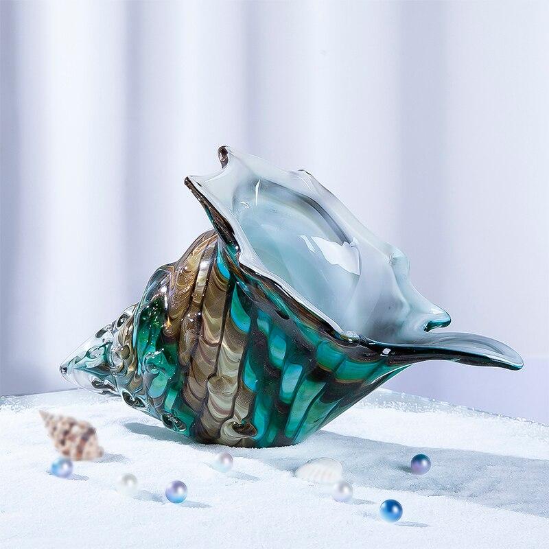 H & D Hand Geblazen Glas Murano Art Stijl Seashell Conch Sculptuur Oceaan multi color Home Office Decoratie Handwerk geschenken (Schelp)-in Figuren & Miniaturen van Huis & Tuin op  Groep 2