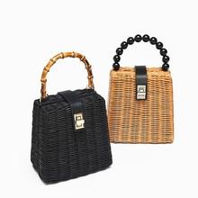 women handbag straw bamboo rattan Woven purses bag box shape crossbody bags for Beading Hollow Out 2019 summer beach new
