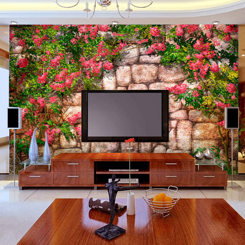 Batu Daun Dinding Dan Bunga Wallpaper Background Ruang Tamu Sebagai Mural Pribadi In Wallpapers From Home Improvement On Aliexpress