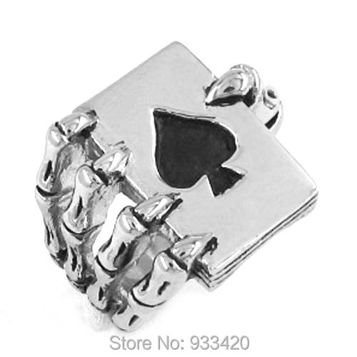 Free shipping! Claw Spades Poker Ring Stainless Steel Jewelry Cool Tribal Ace of Spades Biker Ring Gothic Men Ring SWR0186B