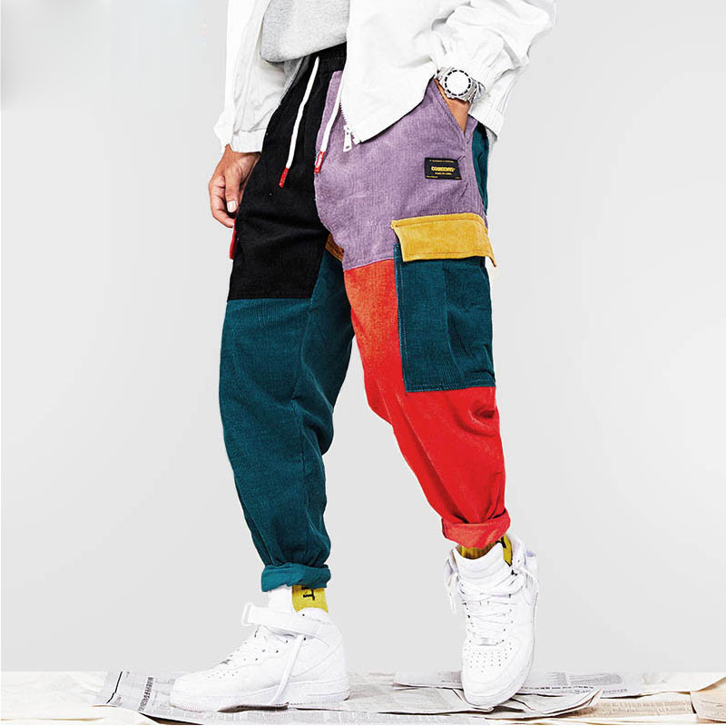 2019 Hip Hip Pants Vintage Color Block Patchwork Corduroy Cargo Harem Pant Streetwear Harajuku Jogger Sweatpant Cotton Trousers(China)