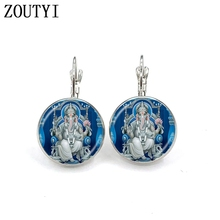 New / glamour elephant Indian spirit meditation Buddha earrings, convex and concave glass ladies earrings.
