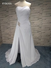 Cheap Price ! 2018 New Arrival Free Shipping Sweetheart Chiffon Crystals White / Ivory Open Leg Wedding Dresses FS1030