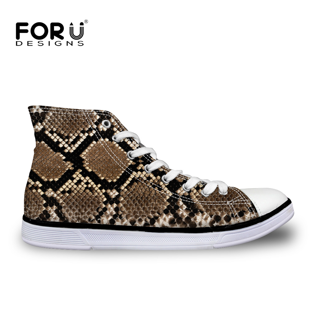 ФОТО FORUDESIGNS Men Leopard Flats Brand Shoes Male Casual Canvas Flats Female Shoes Autumn High Top Mujer Zapatillas Plus Size 35-40