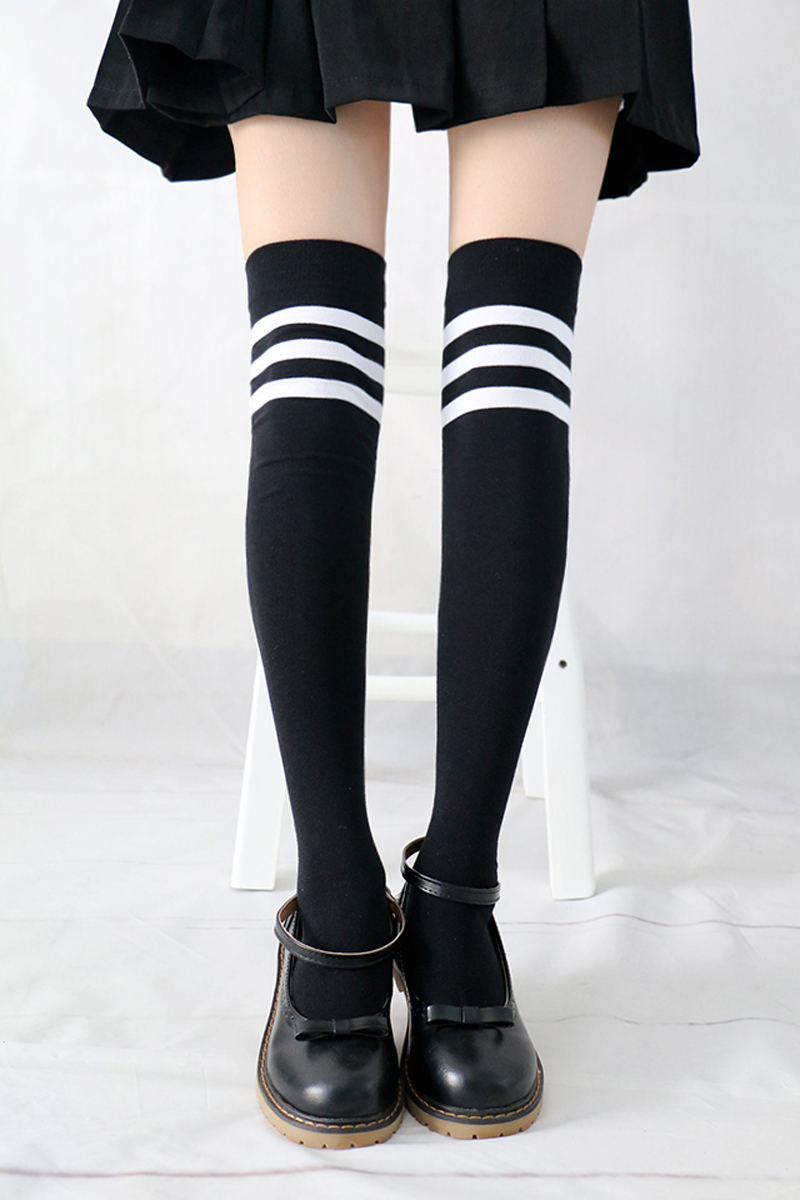 2 pairs woman 47 cm striped black  white cotton tight thigh high stockings girls  student school