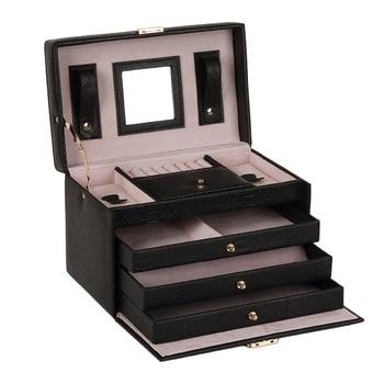 White PU Leather Jewelry Box Packaging Display Organizer Girls 3 Drawers Black Ring Earring Jewellery