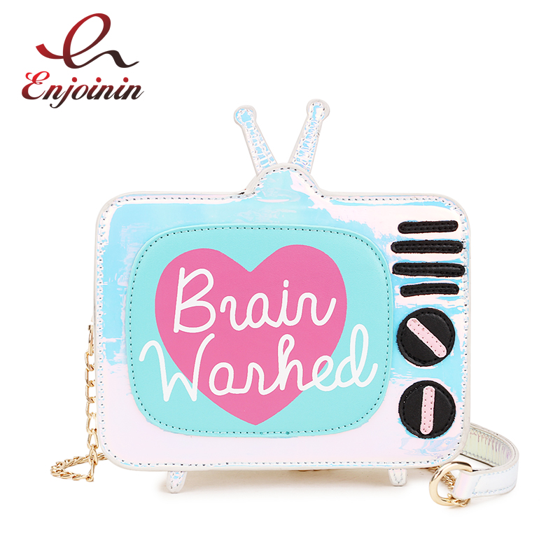 Cute Fashion Laser Cartoon TV Design Letters Girl's Mini Bag Shoulder Bag Ladies Crossbody Messenger Bag Purse Women's Handbag vintage fashion letter book shape pu purse daily clutch bag ladies shoulder bag chain handbag crossbody mini messenger bag