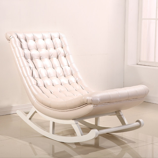 online shop modern design rocking chair white leather wood home
