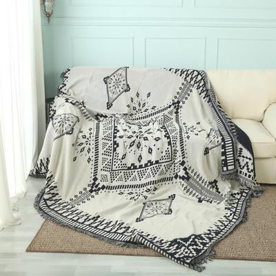 New American Adult Knitted Throw Blanket White Black Geometry Blanket Throw Home Cover Travel Bed Sofa Use Wholesale FG1097