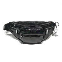 Emarald Adjustable Fanny Pack Women Waist Bag Chain Pu Leather Belt Bag Zipper Black Waist Bag Women Female Fanny Packs