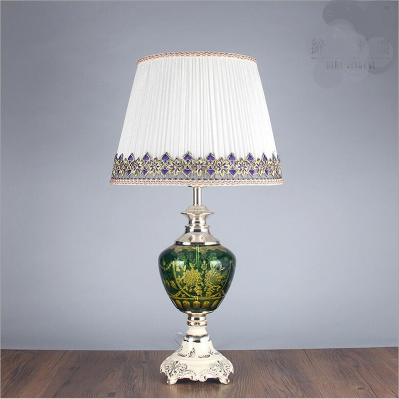High End Europe Vintage Handmade Crystal Glass Fabric Led E27 Table Lamp for Wedding Decor Living Room Bedroom Restaurant 1449
