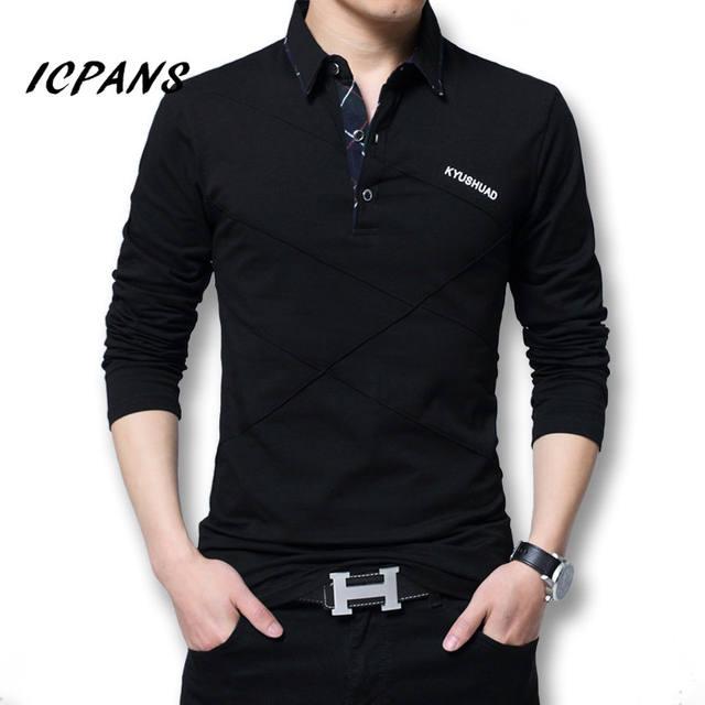 Icpans Polo Shirt Men Long Sleeve 2018 Big Size M-5XL Spring Autumn Polo Shirts Men Casuals Cotton Tops Tee White Red