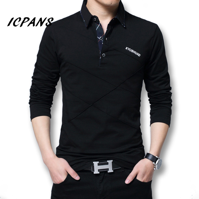 Icpans <font><b>Polo</b></font> <font><b>Shirt</b></font> <font><b>Men</b></font> Long Sleeve 2018 <font><b>Big</b></font> <font><b>Size</b></font> M-5XL Spring Autumn <font><b>Polo</b></font> <font><b>Shirts</b></font> <font><b>Men</b></font> Casuals Cotton Tops Tee White Red image