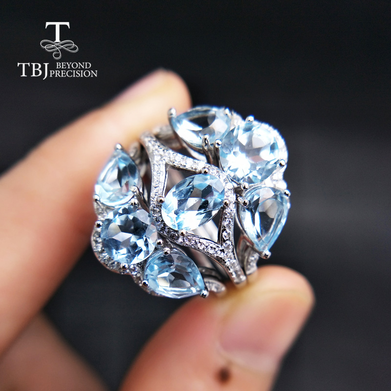 TBJ,engagement ring Fashion Accessories rings Natural sky blue topaz gemstone ring 925 sterling silver jewelry for women gift wedding rings 925 sterling silver rings for men blue topaz ring fashion gift jewelry 100