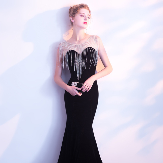 Elegant Sheer Neck Velour Vestidos De Festa Luxury Beading Formal Mermaid Formal Long Evening Dresses Robe Prom Party Gowns