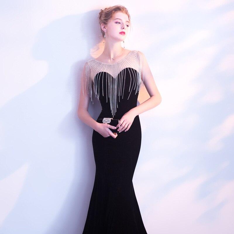 Elegant Sheer Neck Velour Vestidos De Festa Luxury Beading Formal Mermaid Formal Long   Evening     Dresses   Robe Prom Party Gowns