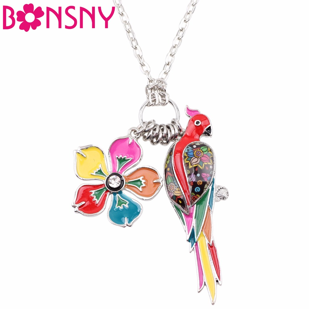 Bonsny Tropics Summer Collection Alloy Sunning Flower Parrot Birds Necklace Chain Enamel Jewelry Statement Pendant Charm NEW ...