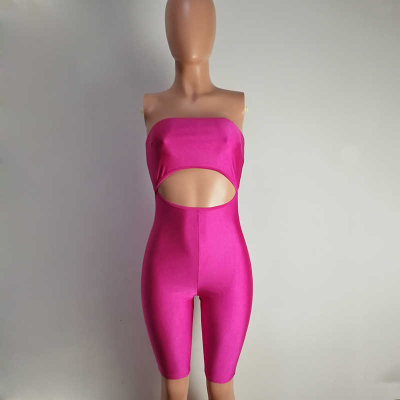Traje de fiesta de una pieza ajustado de una sola pieza con corte frontal elástico rosa