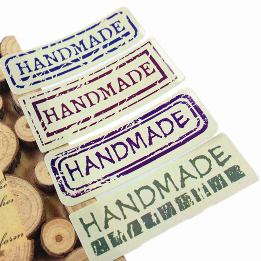 80pcs/lot Students' Diy Retro Uppercase Hand Made Seal Sticker Vintage Handmade Gift Packaging Label