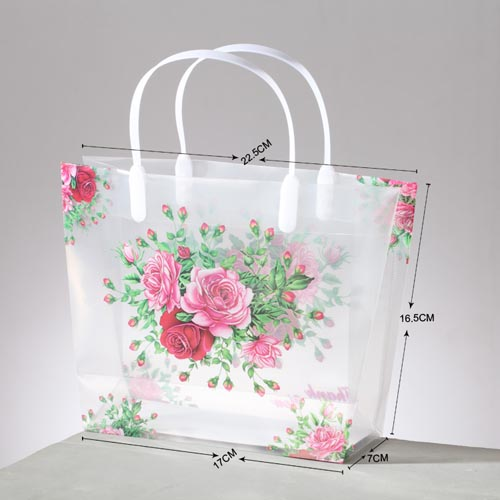 Free shipping HIGH QUALITY!wholesale 60pcs/lot Middle 17*7*16.5cm Peony PP Gift Packing Shopping Bag with handle for Jewelry