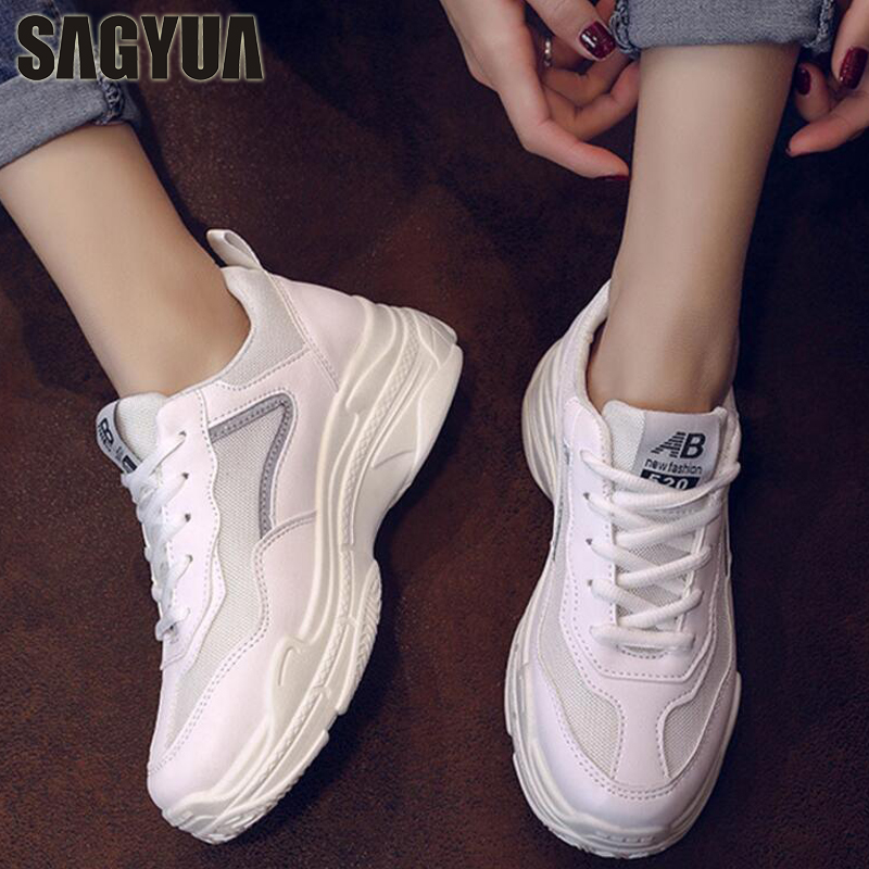 SAGYUA HOT Women Young Teens Fashion Casual Female Mesh Air Breathable Leisure Mujer Maiden Lace Up Lady Walk Shoes Zapatos T142 minika fashion air mesh shoes women breathable