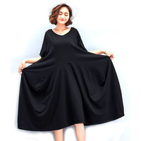 Apparel Fashion Woman Solid Black Dress Ladies Casual Loose Shirt Dresses Female Long Top Tee Tunics 2018 Vestidio