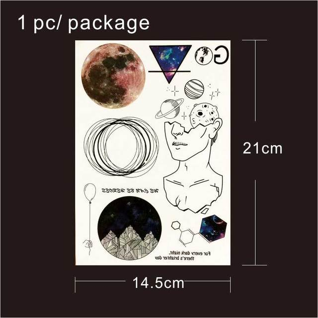 efdd45843 קנו אמנות הקעקוע והגוף | T1809 1 Piece Space Travel Temporary Tattoo ...