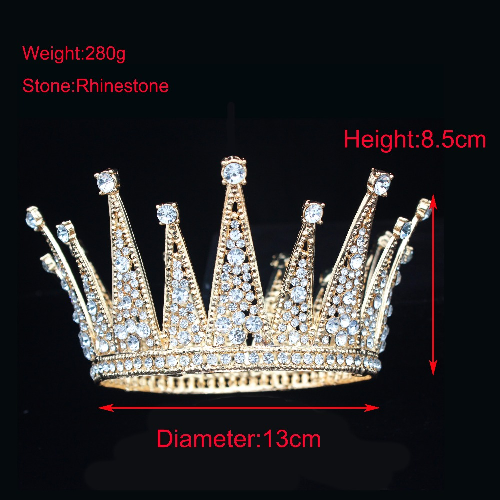 Image 5 - Vintage Crystal Queen King Bridal Tiara Crown Bride Headpiece Wedding Hair Jewelry Accessories Women Pageant Prom Hair Ornaments-in Hair Jewelry from Jewelry & Accessories