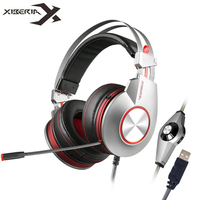 Xiberia K5 PC Gamer Gaming Headphones With Microphone Led Over Ear Headband Computer Heavy Bass USB