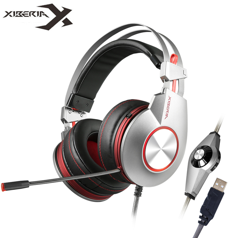 Xiberia K5 PC Gamer Gaming Headphones with Microphone Led Over-ear Headband Computer Heavy Bass USB Gaming Headset For Laptop xiberia k10 over ear gaming headset usb computer stereo heavy bass game headphones with microphone led light for pc gamer