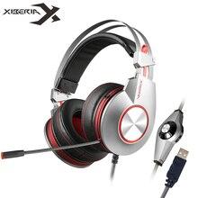 Xiberia K5 PC Gamer Gaming Наушники с Микрофоном Led Накладные наушники Оголовье Компьютер Тяжелый Бас USB Gaming Headset Для ноутбук
