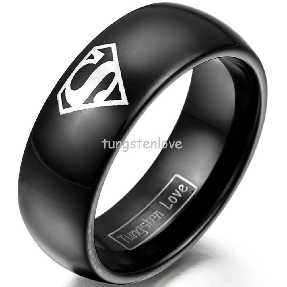 new hot selling 8 mm black super hero superman tungsten carbide ring high quality hypoallergenic best - Superman Wedding Ring