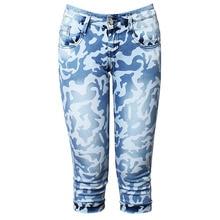 Women Casual Summer Camouflage Cotton Denim Pants Vintage Elastic Slim Fit Skinny Knee Length Jeans Plus Size