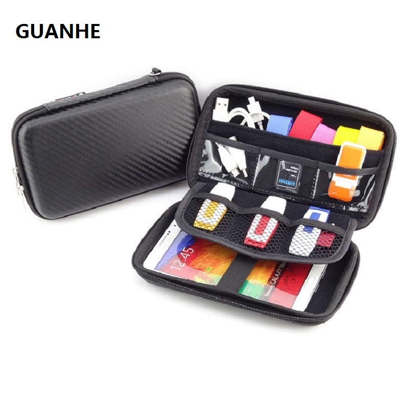 GUANHE UNIVERSAL TRAVEL CASE FOR SMALL ELECTRONICS AND ACCESSORIES - PORTABLE HARD DRIVE, POWER BANK, CABLES AND MORE (BLACK)