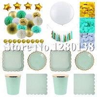 Mięta Złoto Białe Talerze Papierowe Kubki Strona Serwetki Bibuły Pom Poms Lantern Ball 36