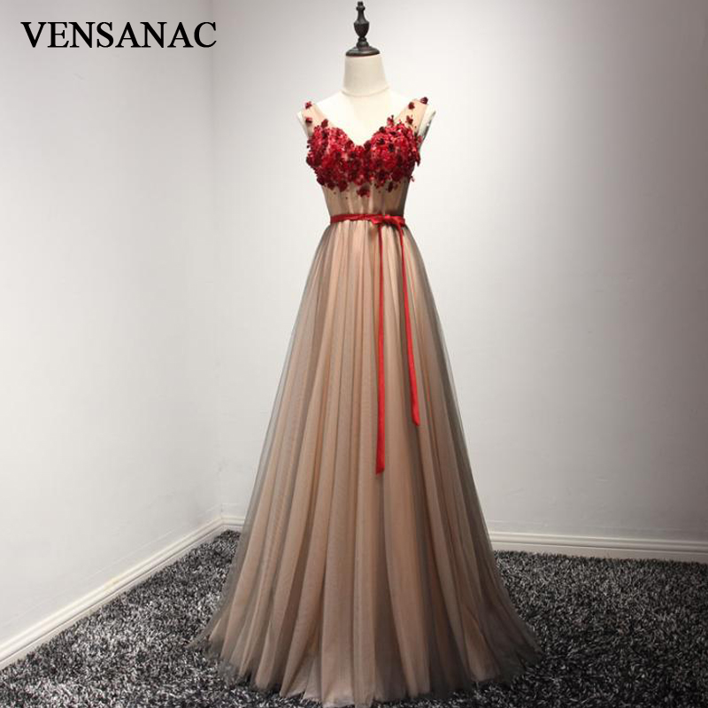 VENSANAC 2018 col en V cristal une ligne fleurs Appliques longues robes de soirée fête dentelle arc ceinture dos nu robes de bal