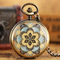 Vintage Flower Crystal Mechanical Pocket Watch Pendant Chain Classical Roman Numbers Skeleton Hand Winding Fob Clock