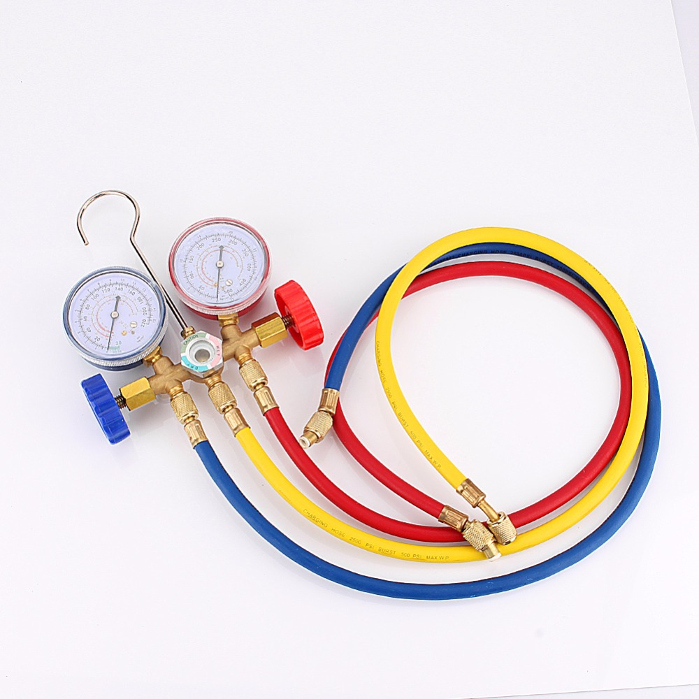 New <font><b>Refrigeration</b></font> <font><b>Air</b></font> <font><b>Conditioning</b></font> AC Diagnostic Manifold Gauge Tool Set sn For All Car A/C With Hose <font><b>and</b></font> Hook Kit
