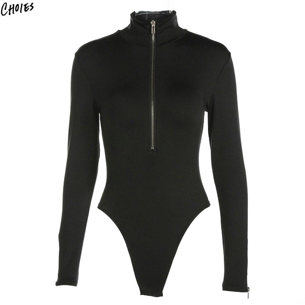 Aliexpress.com : Buy Black High Neck Long Sleeve Bodysuit ...