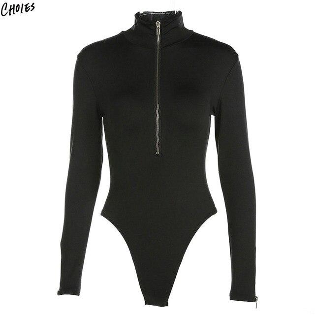 Black High Neck Long Sleeve Bodysuit Women Silm Skinny Letters Print Back Zipper  up Front Simple High Street Style Romper 906292fea
