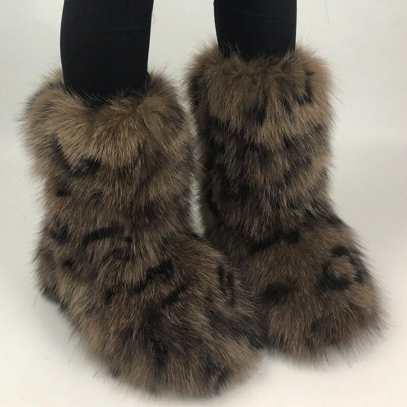 Micholediys 2018 New Arrival Handmade Winter Fox Fur Snow Boots Women Warm Velvet Flat Bottomed Anti Slip Leather BOTAS Shoes micholediys winter new arrival handmade