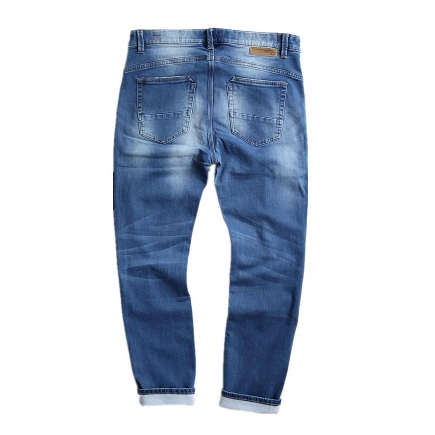 EICHOS Spring Autumn Classic Jeans Men Fashion Hole Knitting Ripped Jeans Slim Light Blue Stretch Mens Jeans Large Size 50