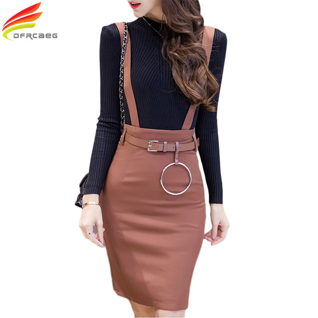 4a5d66e2d2 Plus Size Formal Ladies Office Skirt With Strap Autumn 2018 High Waist  Bodycon Pencil Skirts Womens Black Khaki Work Wear Summer