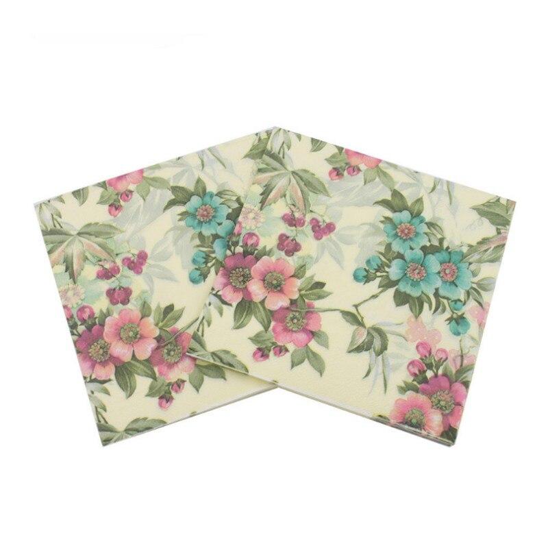 Event Party 33cm * 33cm 20pcs / pack / lot Table Napkin Beauty Printed Tissue Feature Decoration Pink Paper Napkin