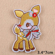 1 Pcs Lovely Sika Deer Embroidered Patches Clothes Iron On Sewing Applique Animals Sticker Pink Pig Icon DIY Garment Patches(China)